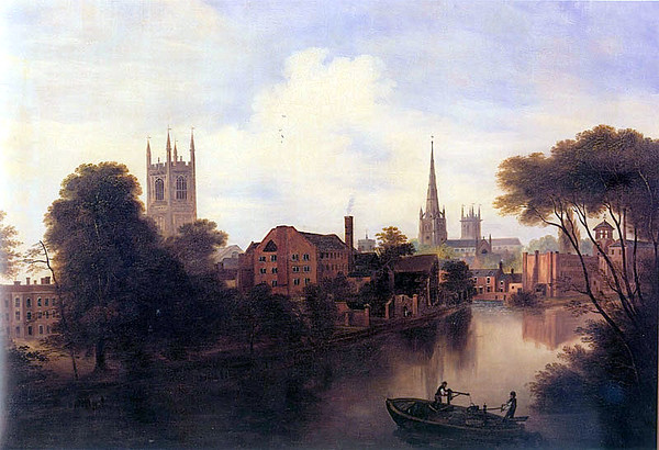 1838 painting of the River Derwent in Derby. Note Derby Cathedral and old silk mill.