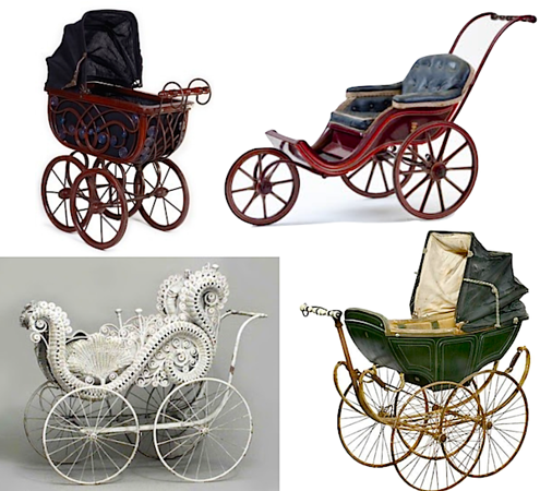 assorted antique baby carriages