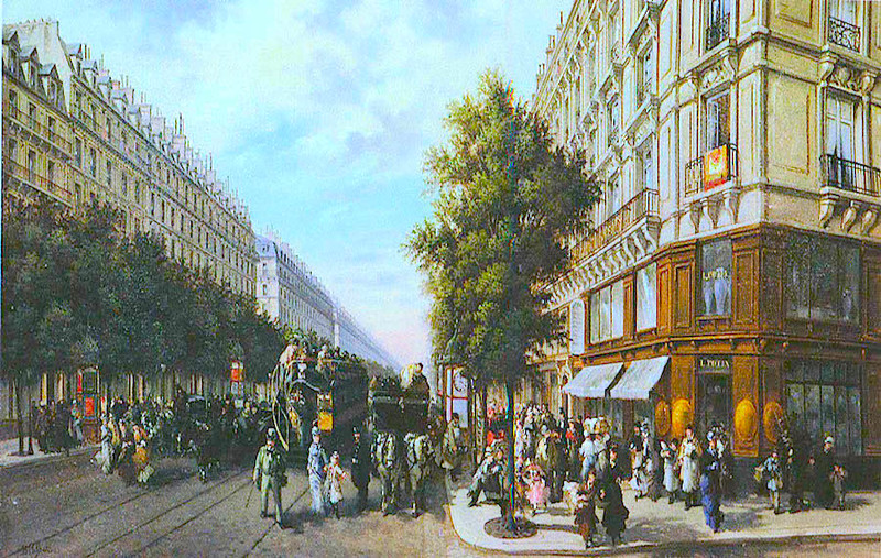 crowded Paris street