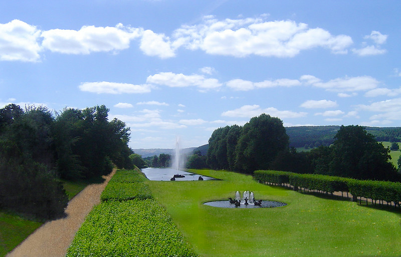 south lawn and fountains