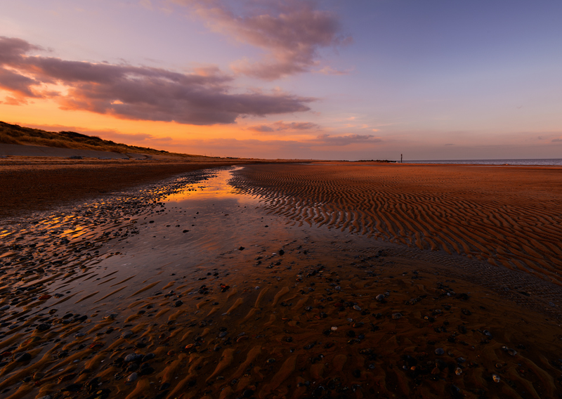 sunset at low tide, Caister-on-Sea