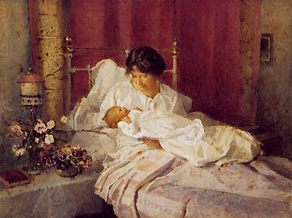 Elizabeth with her newborn babe