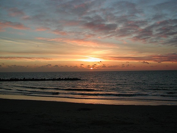 sunrise over North Sea, as seen from Great Yarmouth