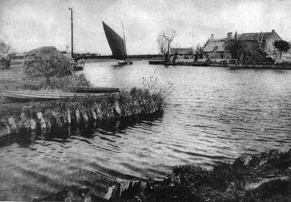 etching of wherry on the Broads