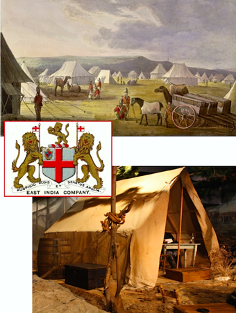 Military tents during war