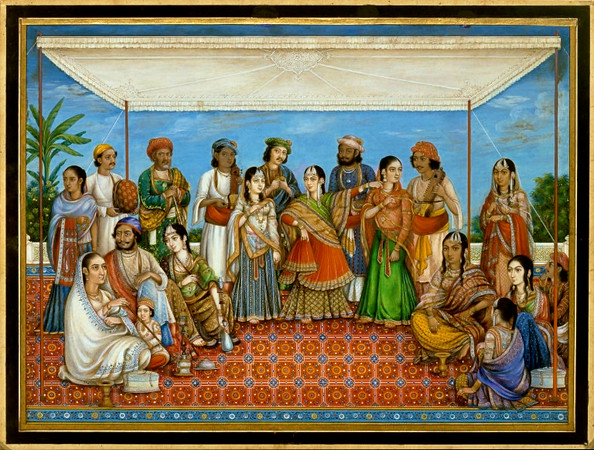 1830 troupe of Indian dancers and musicians