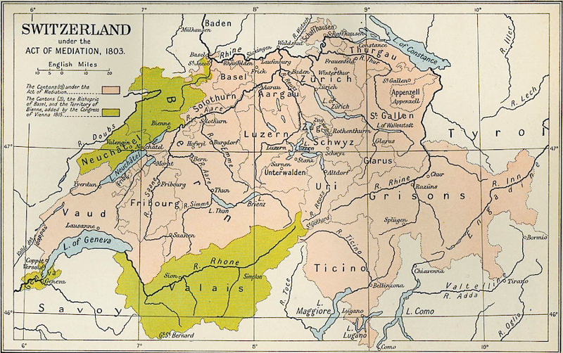 Switzerland map, 1803