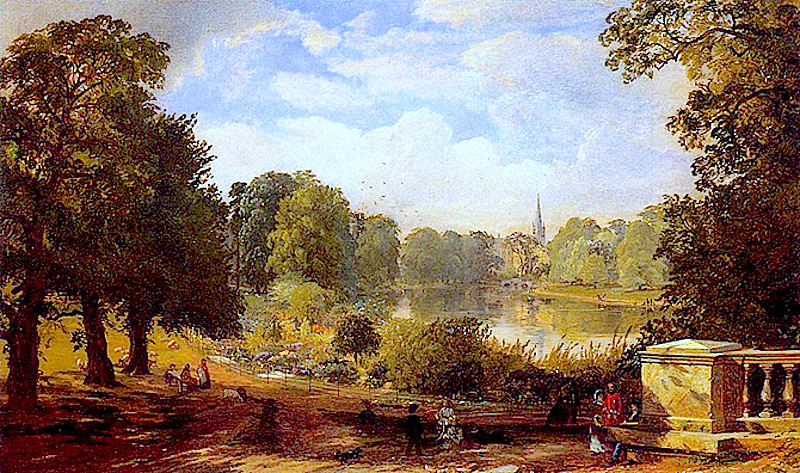1858 painting of Hyde Park and Serpentine Lake