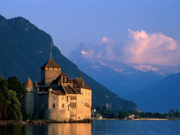 Chillon Castle on Lake Geneva in Switzerland