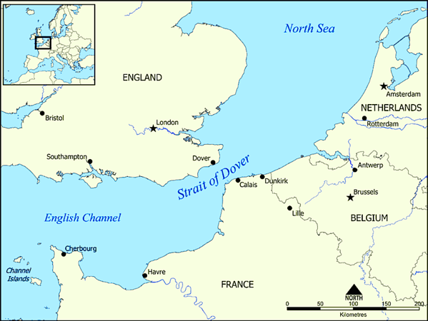 Begin with crossing the English Channel from Dover to Calais.