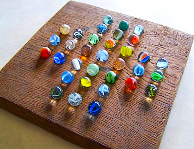 marbles on a board