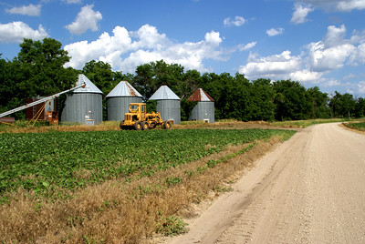 Grain bins along Republican River - northwest Clay County