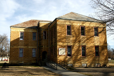 Former limestone library in Burr Oak, now a museum