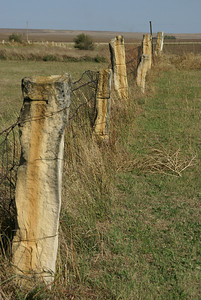 Post rock fence at Honey Creek Cemetery