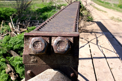 Close-up of nuts on West Creek pony truss bridge - southern Republic County