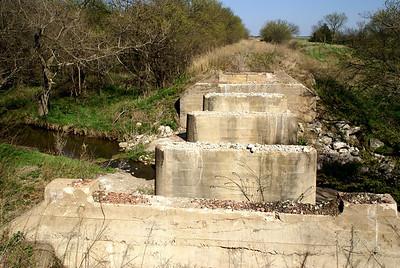 Abandoned railroad bridge pillars near Warwick - far northwest Republic County, Kansas