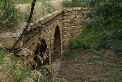 Double stone arch bridge over Coal Creek - southeast Russell County