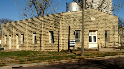 Limestone community building in Greenleaf - WPA project.