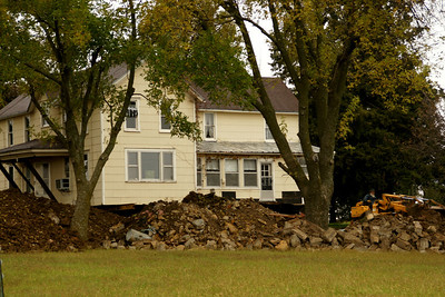Farm house off it's foundation - southeast Atchison County