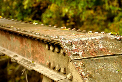 Closeup of Rivets on Iron Pony Truss bridge near Cummings