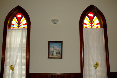 Stained glass windows in Larkinburg Christian Church
