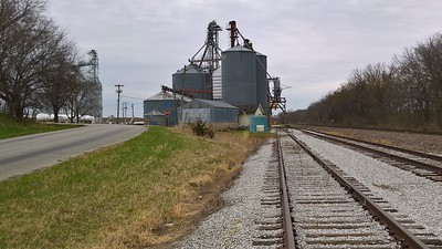Grain elevator and railroad tracks at Padonia