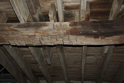 Hand hewn beam - 1861 historic limestone barn near Robinson