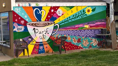 Mural on Daily Perk Coffee Shop Cafe in Hiawatha