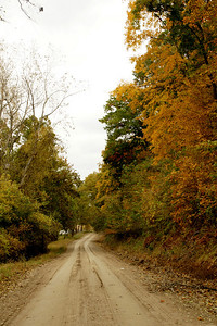 Road through fall foliage along Missouri River - eastern Doniphan County