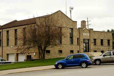 Limestone city hall building in Wathena