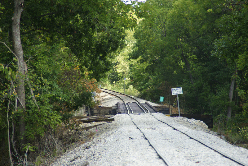 Railroad track used by Midland Railway southwest of Baldwin City