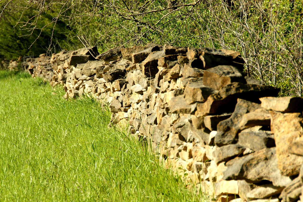Limestone fence in western Douglas County