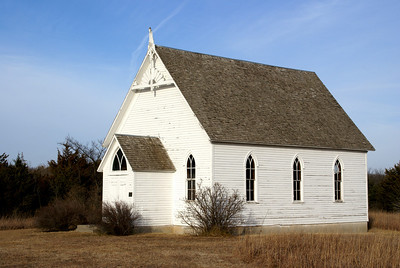 Wood church building on Rock Springs Ranch - Geary/Dickinson county line.