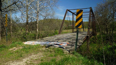 Closed iron truss bridge over Big Slough Creek near Oskaloosa