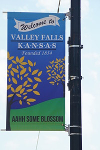 Town banners in downtown Valley Falls