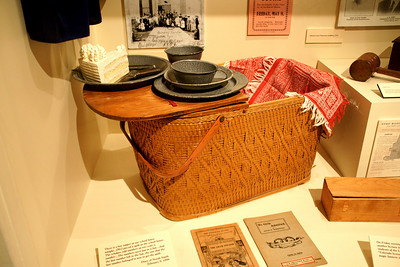 Historic Lanesfield School museum. Lunch basket display.