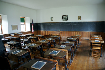 Historic Lanesfield School. Desks in classroom.