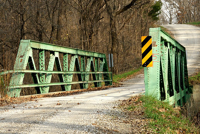 Skewed pony truss bridge over Captain Creek - western Johnson County