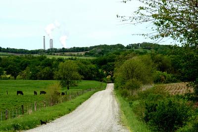 Kansas City Power and Light power plant seen from far northeast Leavenworth County, Kansas