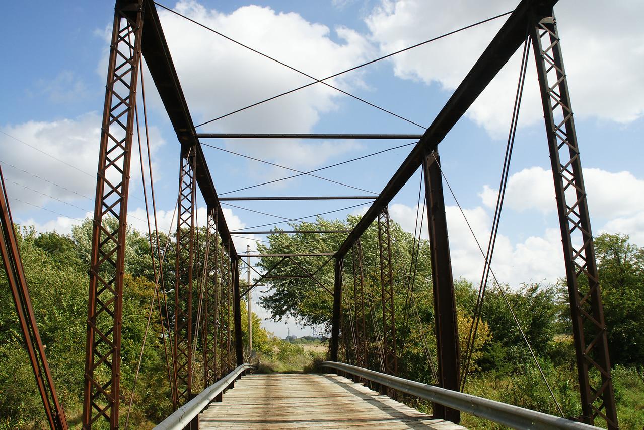 Thru iron truss bridge over North Fork Black Vermillion River west of Vliets