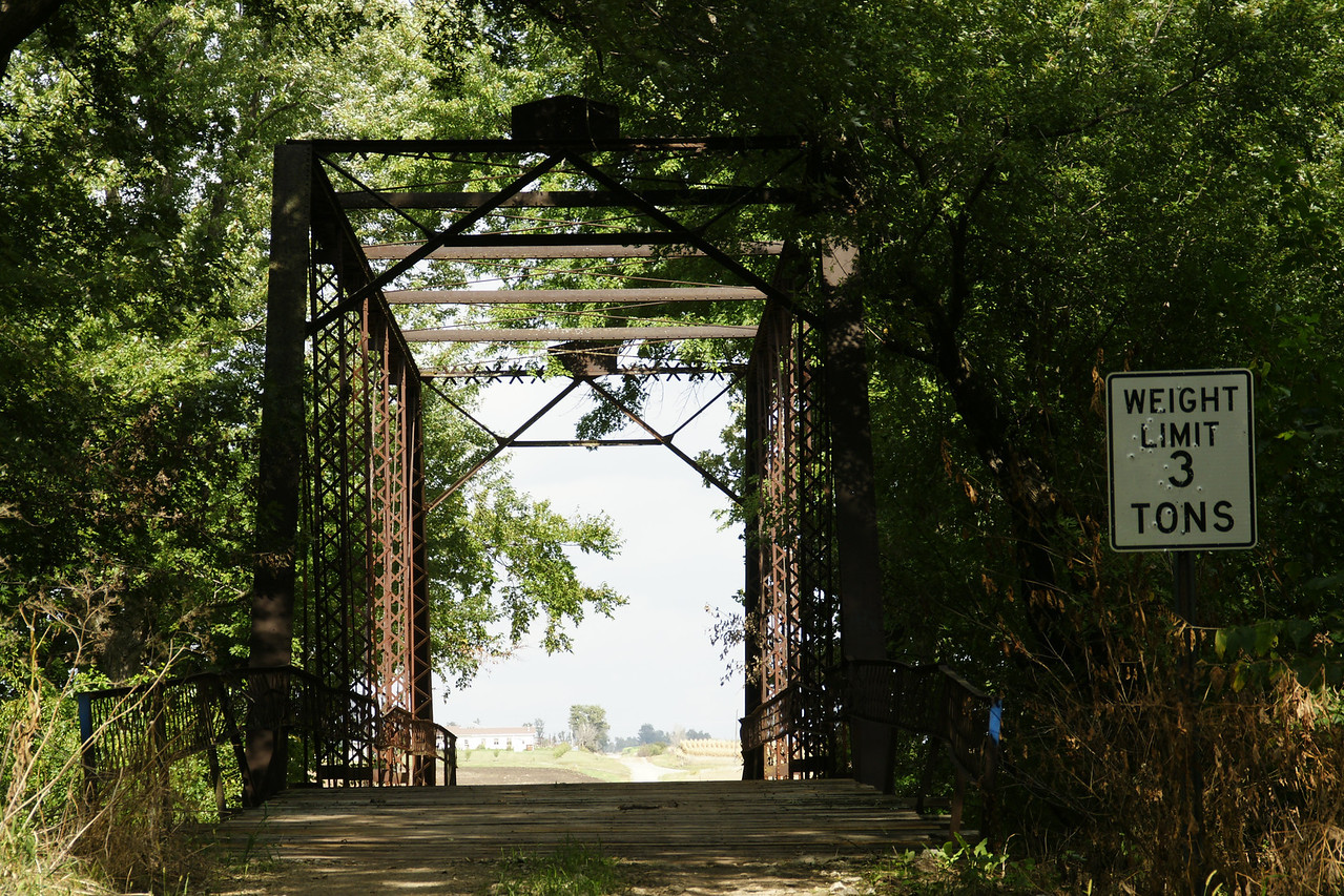 Thru truss bridge over Black Vermillion River east of Frankfort