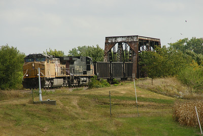 UP train parked on old iron truss bridge at south side of Frankfort