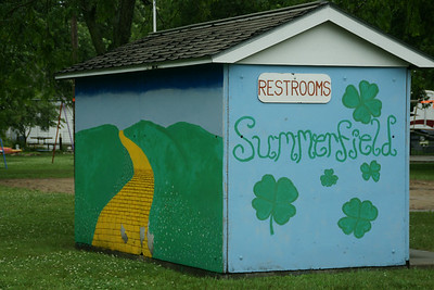Mural on city park restrooms in Summerfield