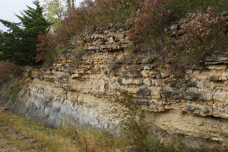 Limestone layers along road in southwest Marshall County