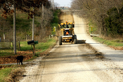 Road grader in eastern Miami County
