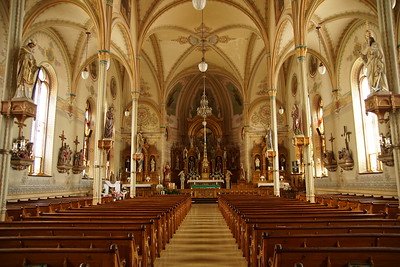 Elegant interior view in St Marys Catholic Church in St Bededict