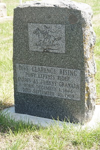 Gravestone of Pony Express Rider Don Rising (aka Johnny Granada) in Wetmore Cemetery