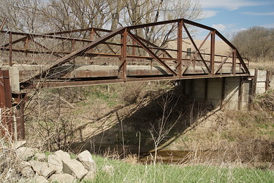 Camelback Pony Truss bridge over Clear Creek - northwest Nemaha County