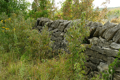 Limestone wall at Carnahan Cemetery near Tuttle Creek Reservoir