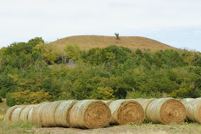 Hillside and hay bales - northwest Pottawatomie County on Shannon Creek Road